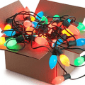box of christmas lights