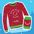 bubly holiday sweater and koozie