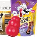 dog treats and toy